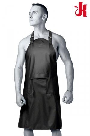 Tablier BDSM - Kink : Tablier SM étanche en polyuréthane, unisexe, avec rabat zippé sur l'avant, collection KINK de Doc Johnson.