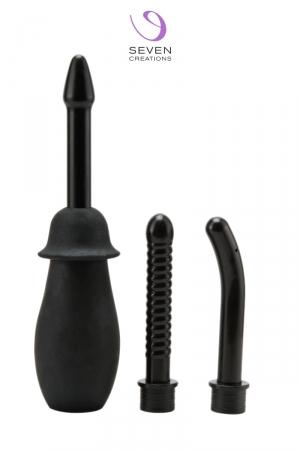 Poire à lavement 3 en 1 : Poire à lavement anale ou vaginale pour elle et lui, proposée avec 3 accessoires interchangeables.