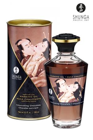 Huile chauffante - Chocolat enivrant : Huile aphrodisiaque comestible et chauffante, saveur Chocolat enivrant, activée par la chaleur de la peau ou les baisers, by Shunga.