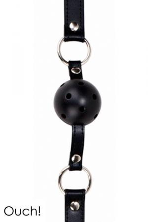 Gag Ball noir - Ouch!  : Ball Gag classique en cuir, métal et balle en ABS, coloris noir, marque Ouch!