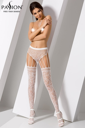 Collants S003 - Blanc : Collants fantaisies en résille blanches, aux multiples jarretelles.