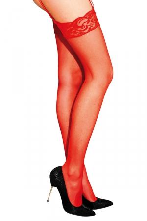 Bas classiques en voile rouge - Anne d'Ales : Bas classiques en voile rouge, à fixer sur un porte-jarretelles.