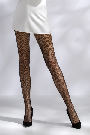 Collants résille TI017 - noir : Collants en résille, motif chevrons.