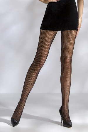 Collants résille TI044 - noir : Collants résille rayé de lignes verticales élégantes.