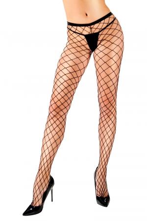 Collant filet Ginna - Anne d'Alès : Collant noir sexy à large filet pour sublimer vos jambes, une création Anne d'Ales.