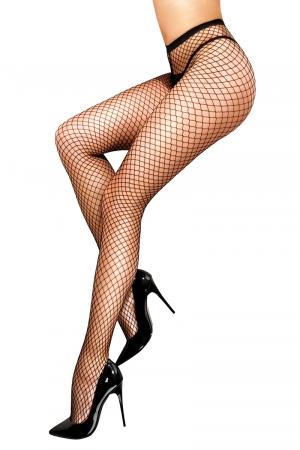 Collant résille Melisa - Anne d'Alès : Osez le charme avec ce collant résille sexy et extensible noir, créé par Anne d'Ales.