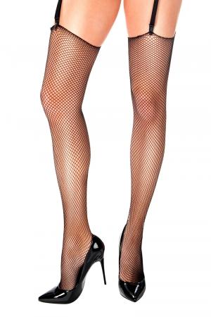 Bas résille Selena noir - Anne d'Alès : Bas noirs sexy à fixer sur vos plus beaux porte-jarretelles