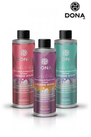 Lessive parfumée aux phéromones - Dona : Enrichie en phéromones et aphrodisiaques, la lessive Dona apporte un parfum de douceur et de sensualité à votre lingerie intime.