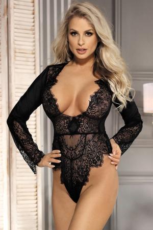 Body noir décolleté dentelle cils : Body noir en voile et dentelle avec décolleté profond qui sublime votre poitrine, marque Paris Hollywood.