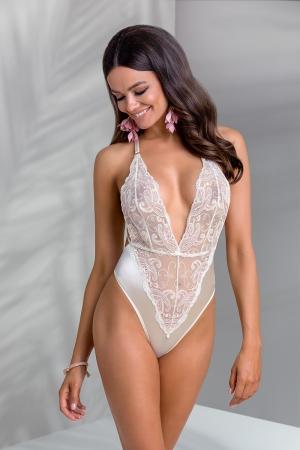 Body lingerie Inoe : Body lingerie charmant en tulle brodé avec bretelles croisées dans le dos.