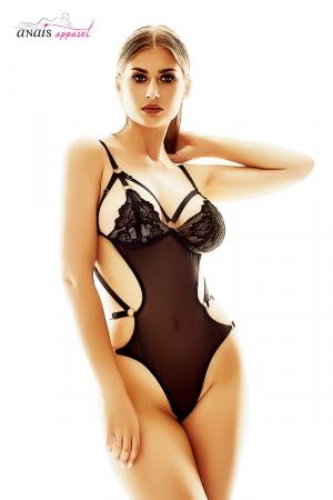 Body harnais Marievie - Anaïs : Body harnais sensuel en fine résille et dentelle.