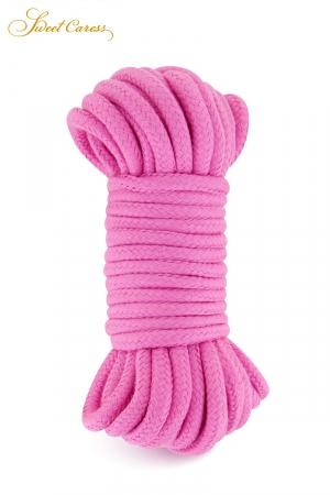 Corde de bondage rose 10m - Sweet Caress : Corde de shibari, spécialement fabriquée pour la pratique des jeux de bondage et ligoter votre partenaire.