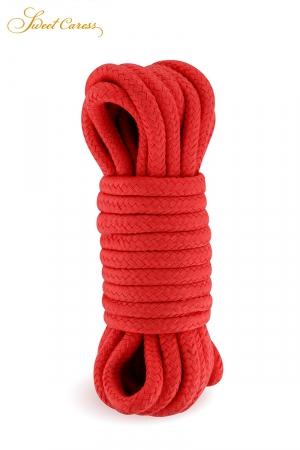 Corde de bondage rouge 5m - Sweet Caress : Corde de shibari rouge, spécialement fabriquée pour la pratique des jeux de bondage et ligoter votre partenaire.