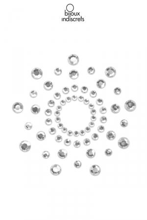 Bijoux de seins Mimi argentés : Bijoux de corps en strass argentés à poser en corole autour du mamelon pour un effet sexy garanti.