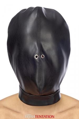 Cagoule BDSM fermée simili cuir - Fetish Tentation : Cagoule BDSM de haute qualité en simili cuir, pour une soumission totale de votre partenaire.