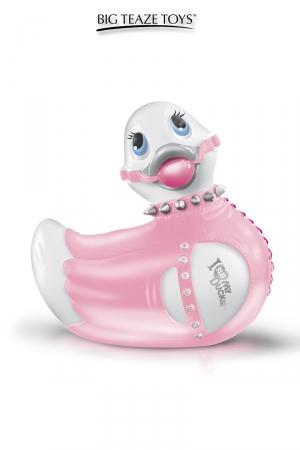 Mini canard vibrant bondage - rose : Une nouvelle tenue bondage Fashionista en rose et blanc pour le canard vibrant le plus célèbre du monde.