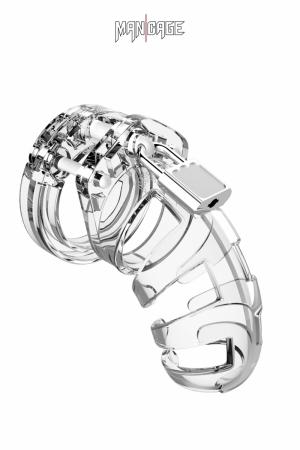 Cage de chasteté ManCage 02 (9cm) : Cage de chasteté pour homme ajustable et transparente, longueur 9 cm, d'un design légèrement plus ouvert que le Modèle 1 de la marque.