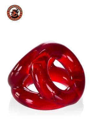 Oxballs Tri-Sport Cocksling - rouge : Cockring rouge transparent en Flex TPR hyper extensible, avec 3 anneaux pour serrer les bourses, la verge et la base de celle-ci, par Oxballs.