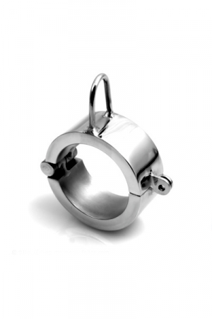 Cock and Ball Shackle : Cylindre acier massif pour homme et son anneau d'accroche, utilisable comme cockring, ball stretcher ou cock and ball.