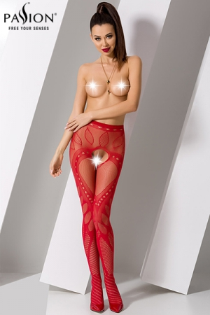 Collants ouverts S007 - Rouge : Collants ouverts en résille rouge décorée de motifs modernes très sensuel.