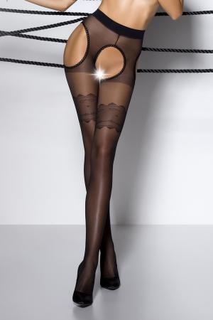Collants ouverts TI002 - noir : Collants ouverts sur l'intimité et les hanches en voile noir, avec motif en haut des cuisses.
