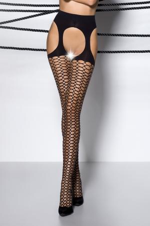 Collants ouverts TI004 - noir : Collants ouverts sur l'intimité et les hanches en voile noir décoré de motifs géométriques.