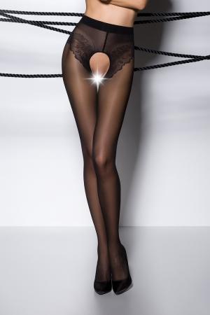 Collants ouverts TI006 - noir : Collants ouverts en voile 30 deniers noir, largement ouvert sur le pubis et les fesses.