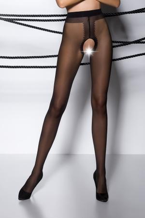 Collants ouverts TI007 - noir : Collants ouverts en voile noir 20 deniers.