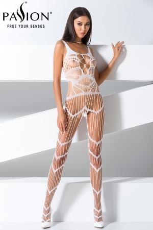 Combinaison BS058 - Blanc : Combinaison sexy blanche au style original et très provocant.
