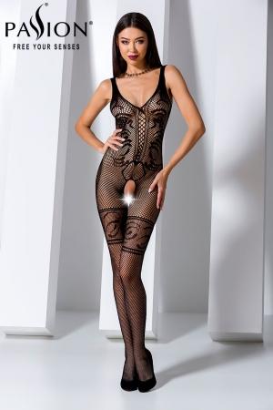 Combinaison BS069 - Noir : Combinaison en résille noire ouverte sur l'entre-jambes, au style sophistiqué avec ses motifs incrustés dans la résille.