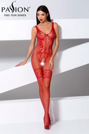 Combinaison BS069 - Rouge : Combinaison en résille rouge ouverte sur l'entre-jambes, au style sophistiqué avec ses motifs incrustés dans la résille.