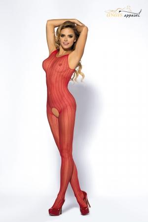 Combinaison rouge Joyce - Anaïs : Combinaison ouverte en fine résille rouge rayée de lignes verticales qui allongent la silhouette.