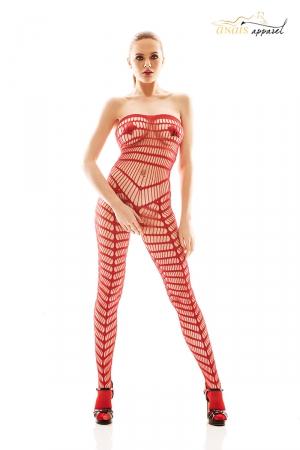 Combinaison rouge Orica - Anaïs : Combinaison ouverte rouge ajourée de motifs géométriques qui soulignent la silhouette.