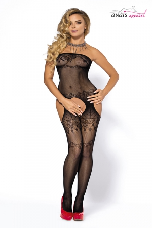 Combinaison noire Yoko - Anaïs : Combinaison sexy en résille noire finition bustier, ouverte en jarretelles à l'entre-jambes.