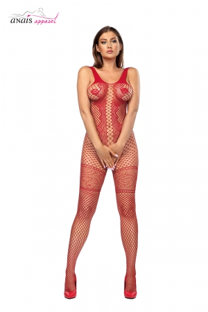 Combinaison résille Bianca Rouge - Anaïs : Combinaison intégrale en résille fantaisie rouge au design très élaboré.