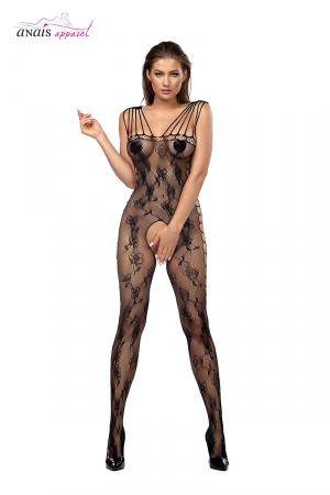 Combinaison résille Jadis Noir - Anaïs : Combinaison ouverte au design sophistiqué en résille fantaisie noire.