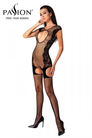 Combinaison résille BS082 - Noir : Combinaison sexy formée d'une robe guêpière et de bas en résille noire, par Passion