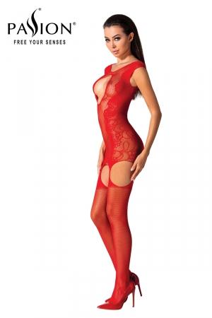 Combinaison résille BS082 - Rouge : Combinaison sexy formée d'une robe guêpière et de bas en résille rouge, par Passion