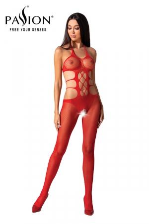 Combinaison résille BS084 - Rouge : Combinaison sexy ouverte effet body et collants en résille rouge, de la marque Passion.