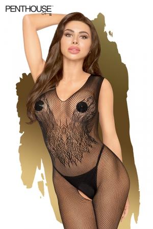 Combinaison sexy Wild Catch noire - Penthouse : Combinaison sexy noire en résille brodée avec entrejambe ouvert, par Penthouse Lingerie.