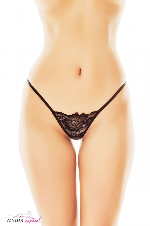 String dentelle Canara : String très sexy en fine dentelle noire et arrière géométrique soulignant les fesses.