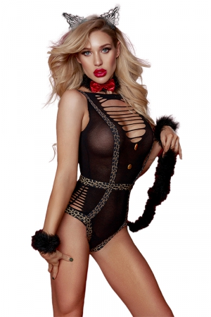 Costume sexy de Catwoman féline - Paris Hollywood : Déguisement de féline très sexy idéal pour pimenter vos jeux de rôles érotiques !