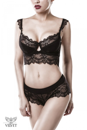 Ensemble culotte et balconnet dentelle - Grey Velvet : Ensemble lingerie de jour sensuelle en dentelle.