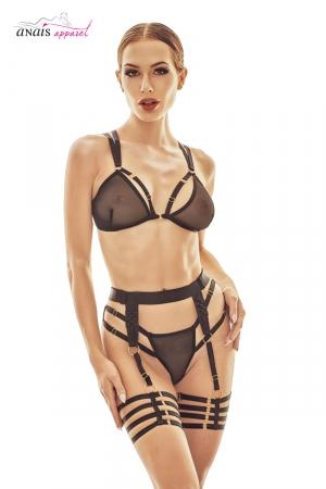 Ensemble sexy Wonder - Anaïs : Ensemble lingerie sexy style BDSM chic, soutien-gorge, tanga, et ceinture à jarretières.
