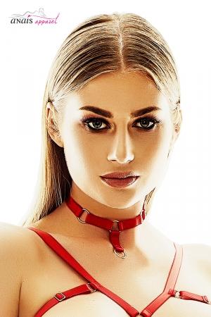 Collier Ignite - Anaïs Lingerie : Collier rouge ras du cou BDSM chic fantaisie,  original et sexy avec son petit anneau doré et sa finition pendentif.