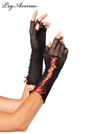 Mitaines résille lacet rouge : Mitaines demi-doigts en résille noire, et un ruban de satin rouge lacé.
