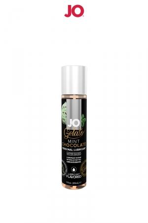Lubrifiant aromatisé Menthe Chocolat - 30ml : Avec le lubrifiant System Jo Gelato et ses saveurs délirantes, profitez à la fois du câlin et du dessert.Parfum menthe chocolat.