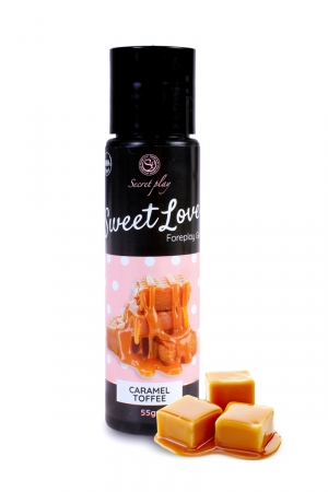 Lubrifiant comestible caramel toffee - 60ml : Lubrifiant 100% comestible de la série Sweet Love, au parfum caramel toffee signé de la marque Espagnole Secret Play.