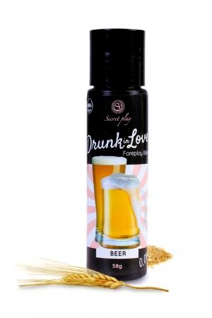 Lubrifiant arôme bière - 60 ml : Lubrifiant 100% comestible de la série Drunk in Love, au gout de bière signé de la marque Espagnole Secret Play.