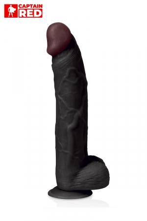 Gode XXL Prodigy Black 32 x 6 cm - Captain Red : Gode extrême réaliste noir de 32 cm de long pour 6 cm de diamètre, avec ventouse, par Captain Red.